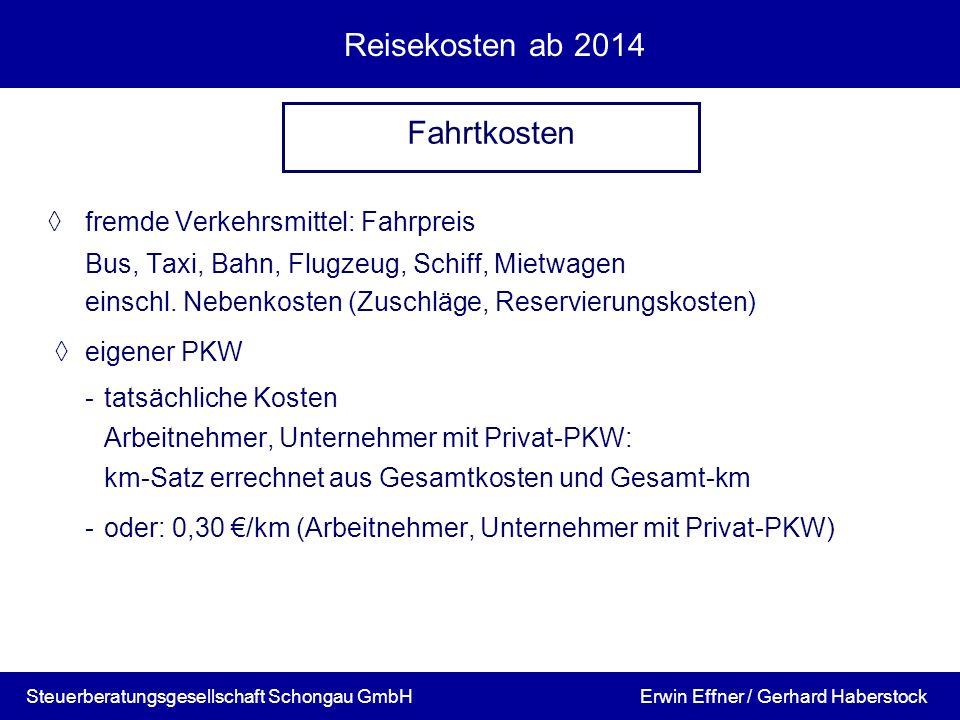 Reisekosten ab 2014 Fahrtkosten