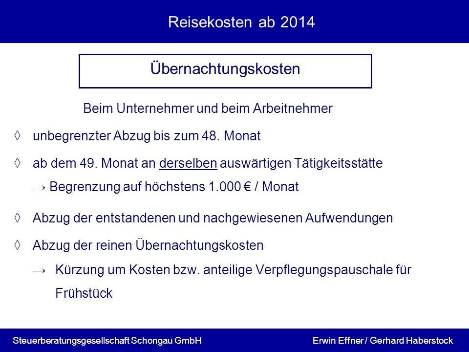 Reisekosten ab 2014 Übernachtungskosten