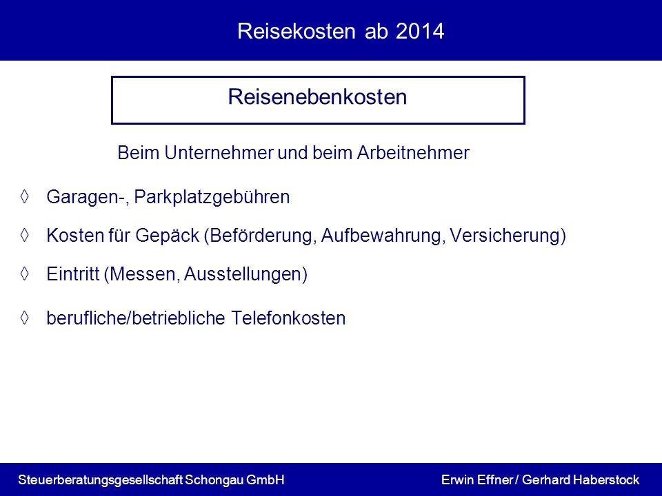 Reisekosten ab 2014 Reisenebenkosten