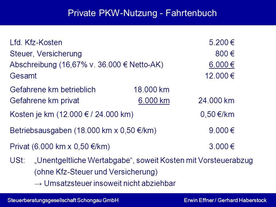 Private PKW-Nutzung - Fahrtenbuch