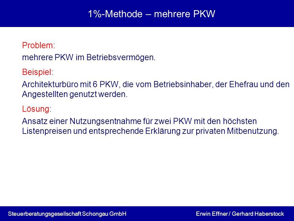 1%-Methode – mehrere PKW