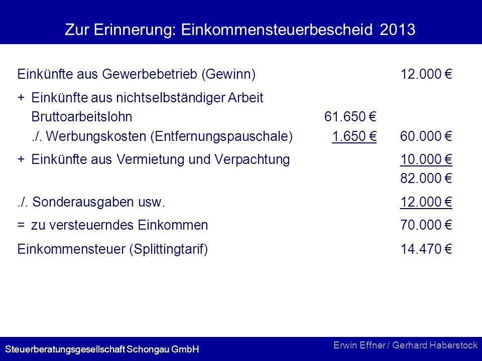 Zur Erinnerung: Einkommensteuerbescheid 2013