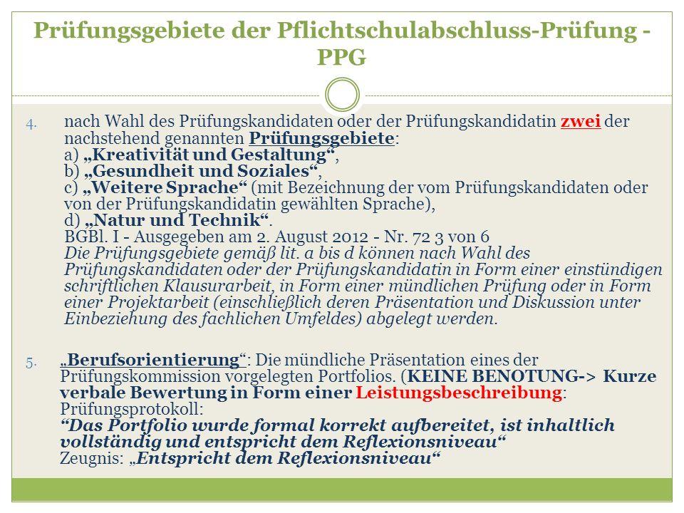 Prüfungsgebiete der Pflichtschulabschluss-Prüfung - PPG