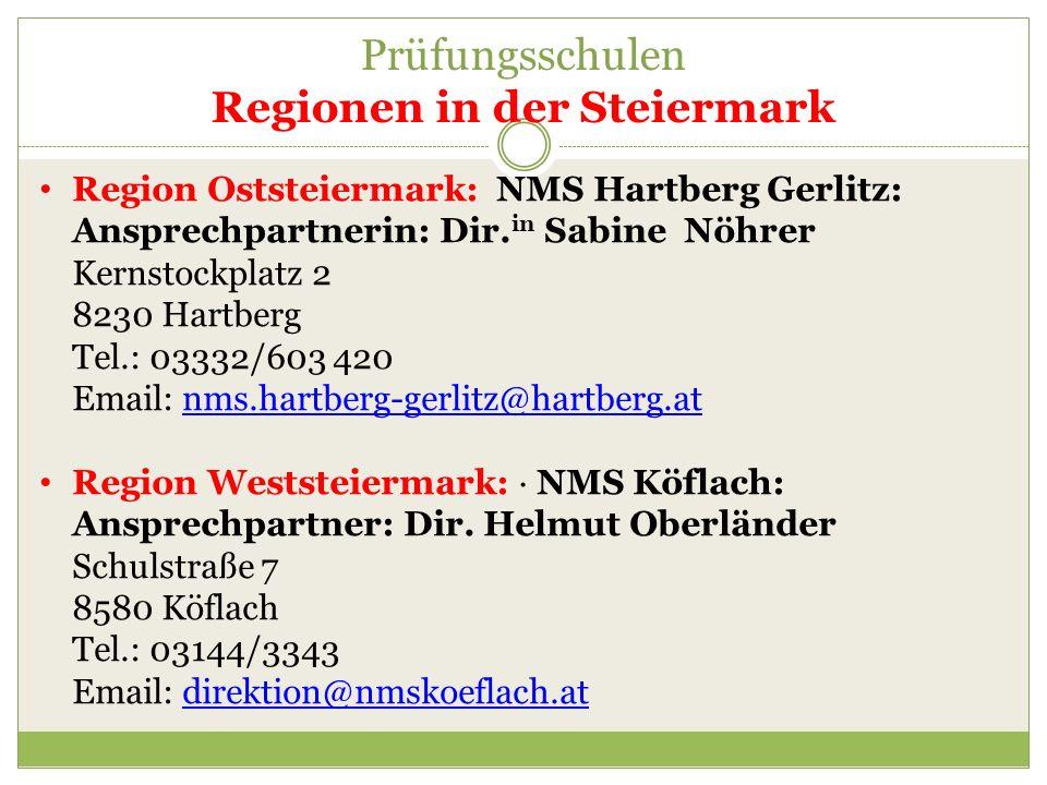Prüfungsschulen Regionen in der Steiermark