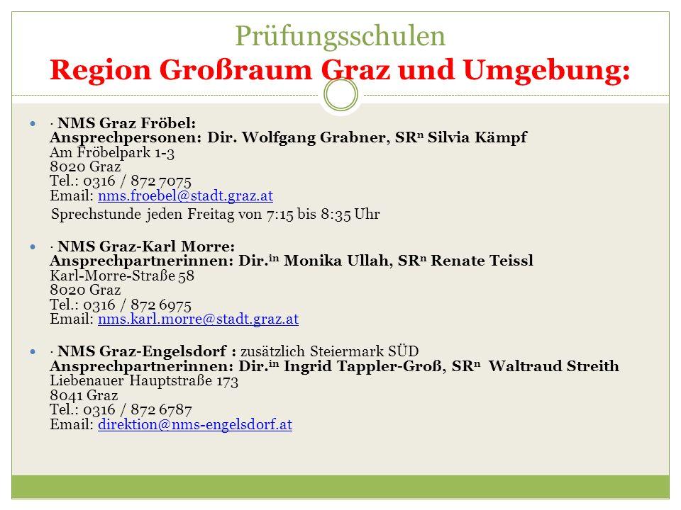 Prüfungsschulen Region Großraum Graz und Umgebung: