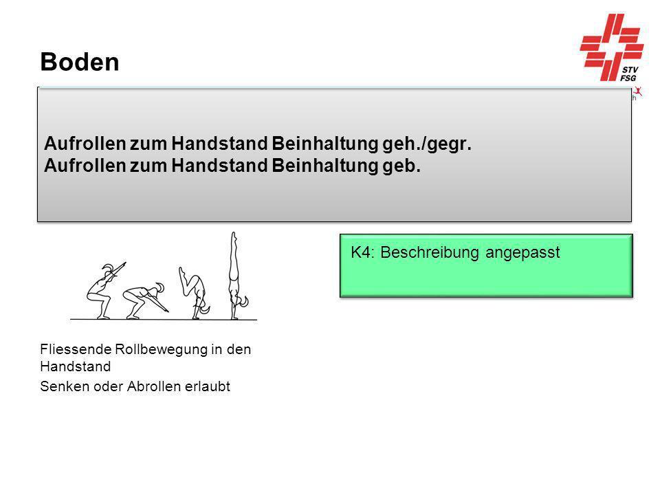 Boden Aufrollen zum Handstand Beinhaltung geh./gegr. Aufrollen zum Handstand Beinhaltung geb. K4: Beschreibung angepasst.