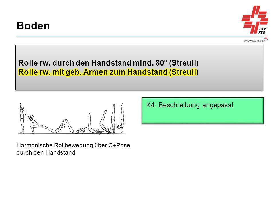 Boden Rolle rw. durch den Handstand mind. 80° (Streuli) Rolle rw. mit geb. Armen zum Handstand (Streuli)