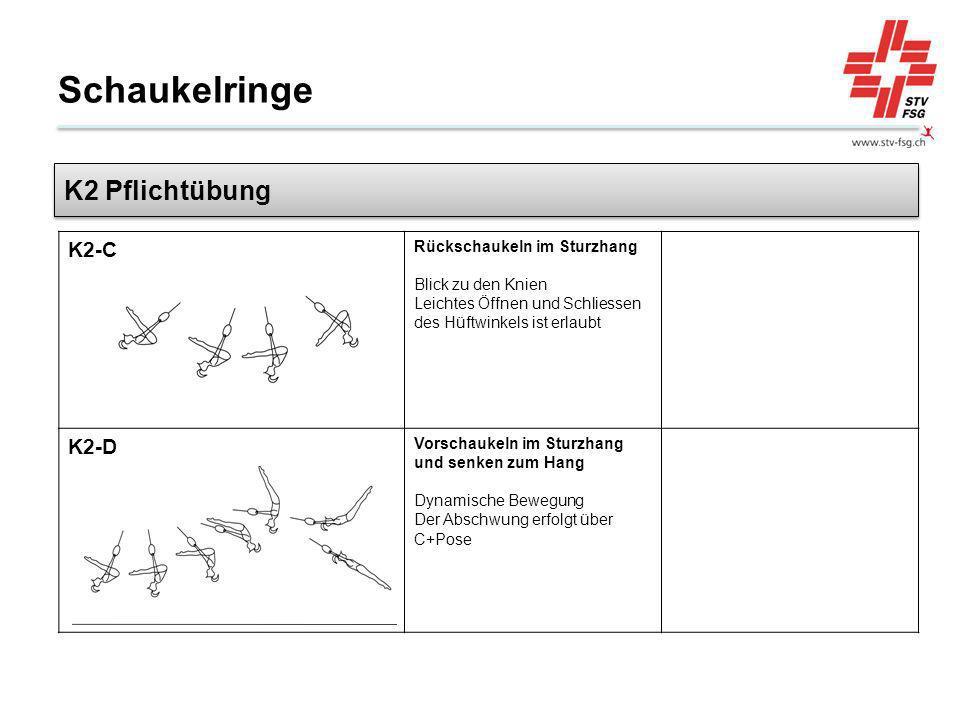 Schaukelringe K2 Pflichtübung K2-C K2-D Rückschaukeln im Sturzhang