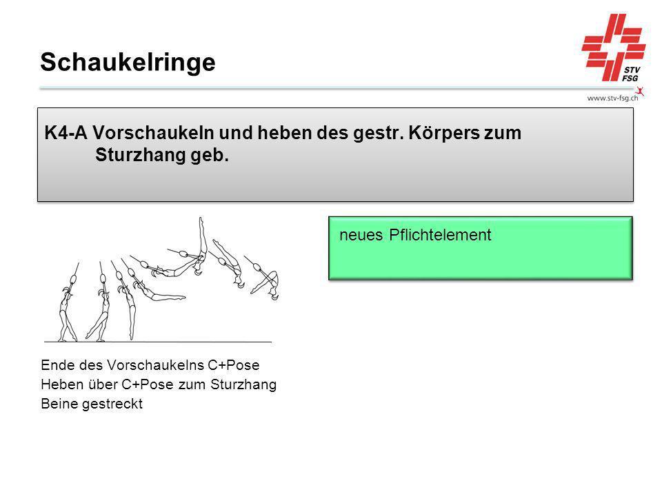 Schaukelringe K4-A Vorschaukeln und heben des gestr. Körpers zum Sturzhang geb. neues Pflichtelement.
