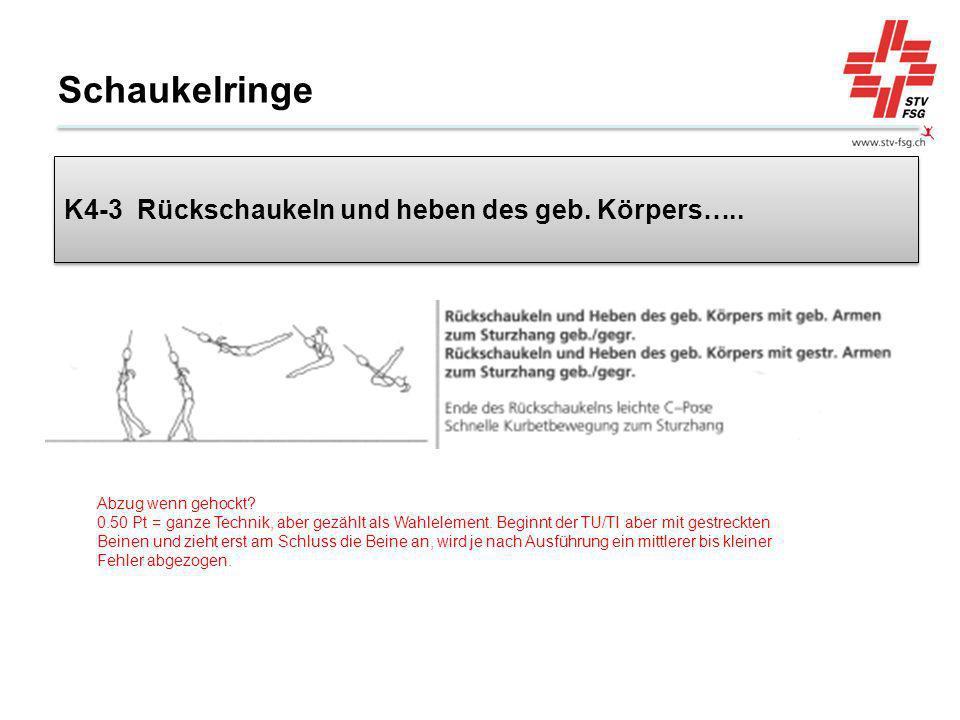 Schaukelringe K4-3 Rückschaukeln und heben des geb. Körpers…..
