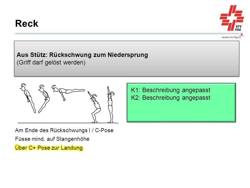 Reck Aus Stütz: Rückschwung zum Niedersprung (Griff darf gelöst werden) K1: Beschreibung angepasst K2: Beschreibung angepasst.