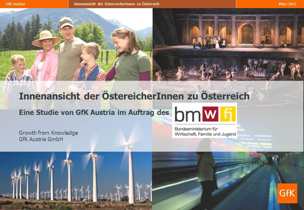 Innenansicht der ÖstereicherInnen zu Österreich Eine Studie von GfK Austria im Auftrag des Growth from Knowledge GfK Austria GmbH