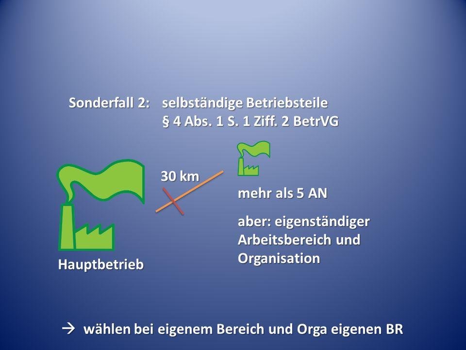 Sonderfall 2:. selbständige Betriebsteile. § 4 Abs. 1 S. 1 Ziff