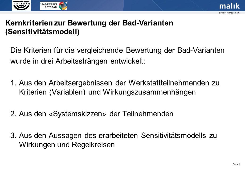 Folgende Kernkriterien wurden als wesentlich für die Badversorgung Potsdam identifiziert: