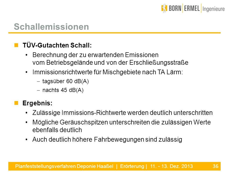 Schallemissionen TÜV-Gutachten Schall: