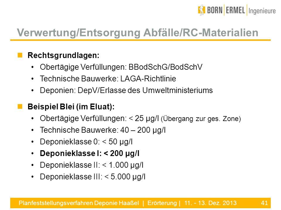 Verwertung/Entsorgung Abfälle/RC-Materialien