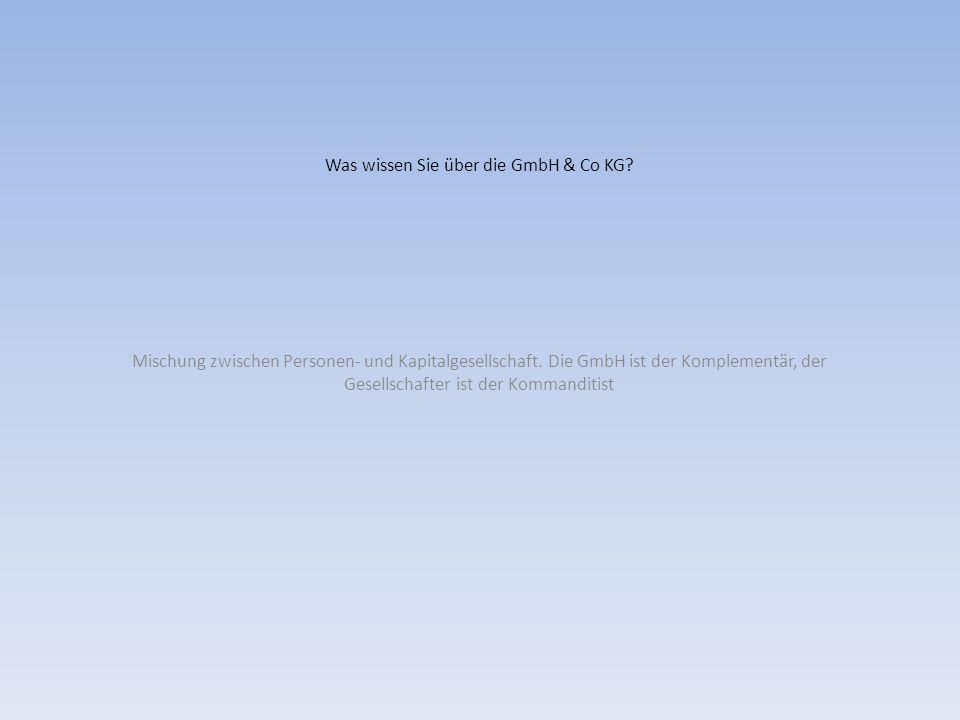 Was wissen Sie über die GmbH & Co KG