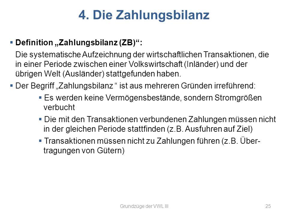 """4. Die Zahlungsbilanz Definition """"Zahlungsbilanz (ZB) :"""