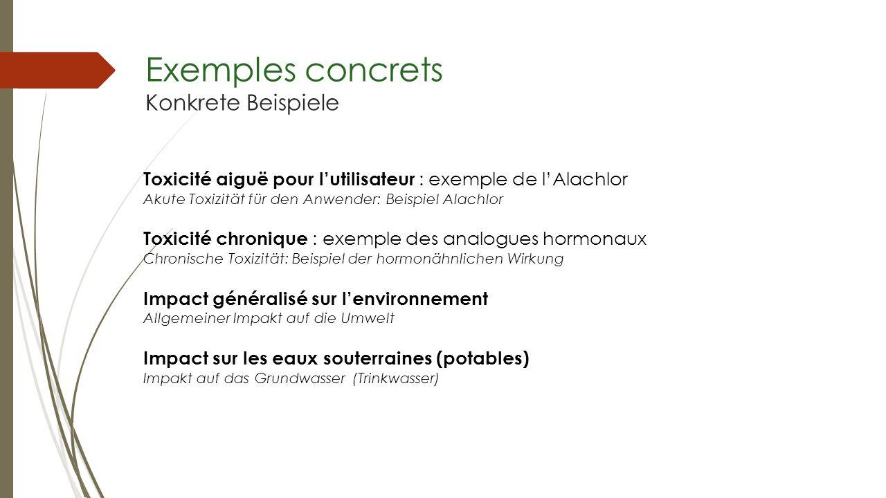 Exemples concrets Konkrete Beispiele