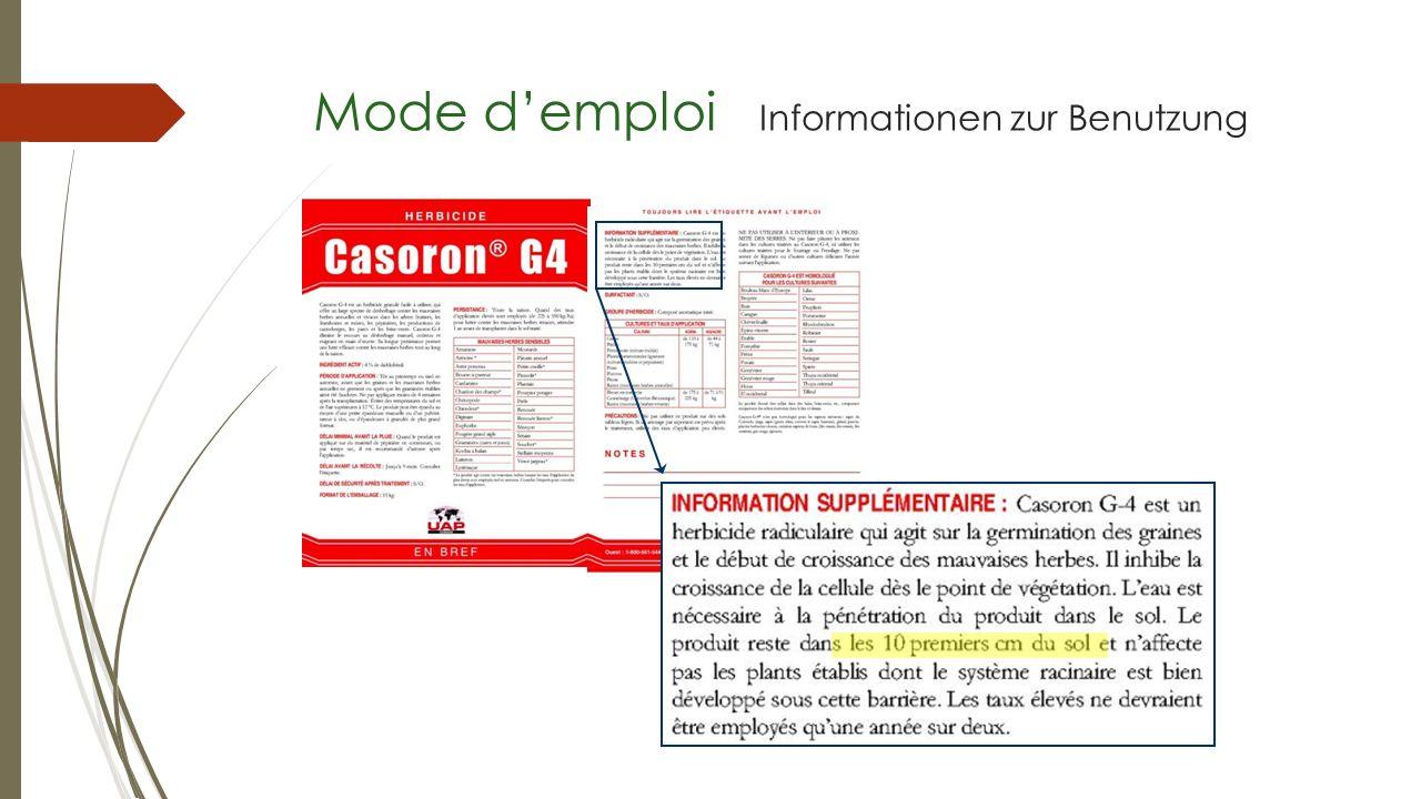Mode d'emploi Informationen zur Benutzung