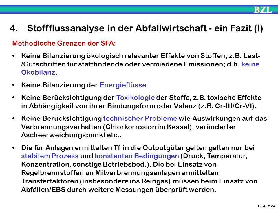 4. Stoffflussanalyse in der Abfallwirtschaft - ein Fazit (I)