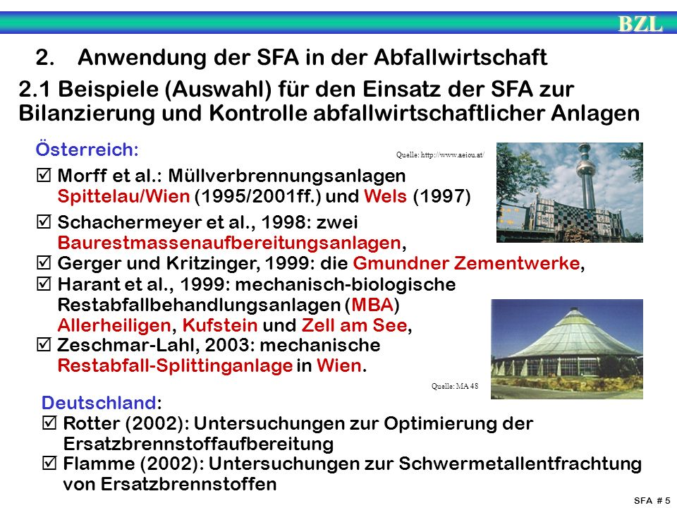 2. Anwendung der SFA in der Abfallwirtschaft