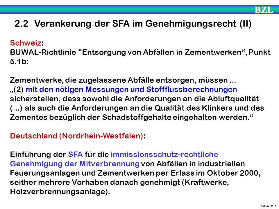 2.2 Verankerung der SFA im Genehmigungsrecht (II)