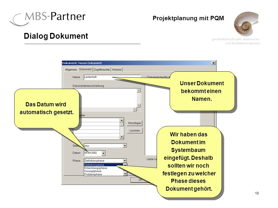 Dialog Dokument Unser Dokument bekommt einen Namen. Das Datum wird