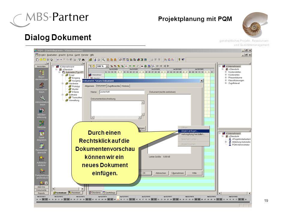 Dialog Dokument Durch einen Rechtsklick auf die Dokumentenvorschau