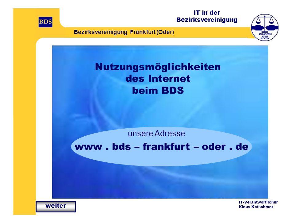 Nutzungsmöglichkeiten des Internet beim BDS