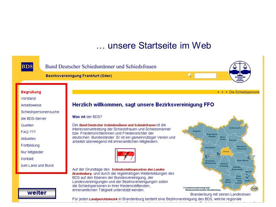 … unsere Startseite im Web