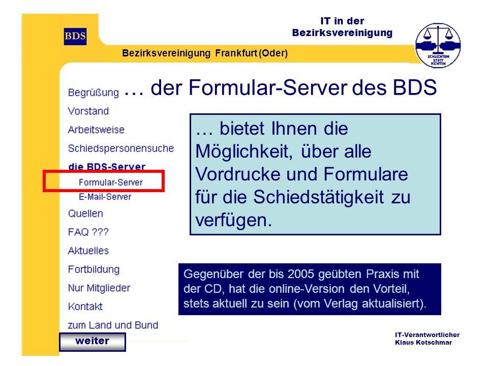 … der Formular-Server des BDS