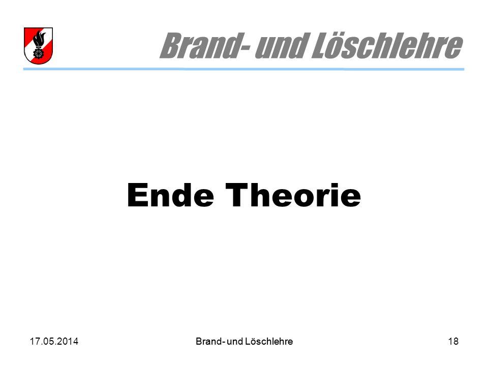 Brand- und Löschlehre Ende Theorie 30.03.2017 Brand- und Löschlehre