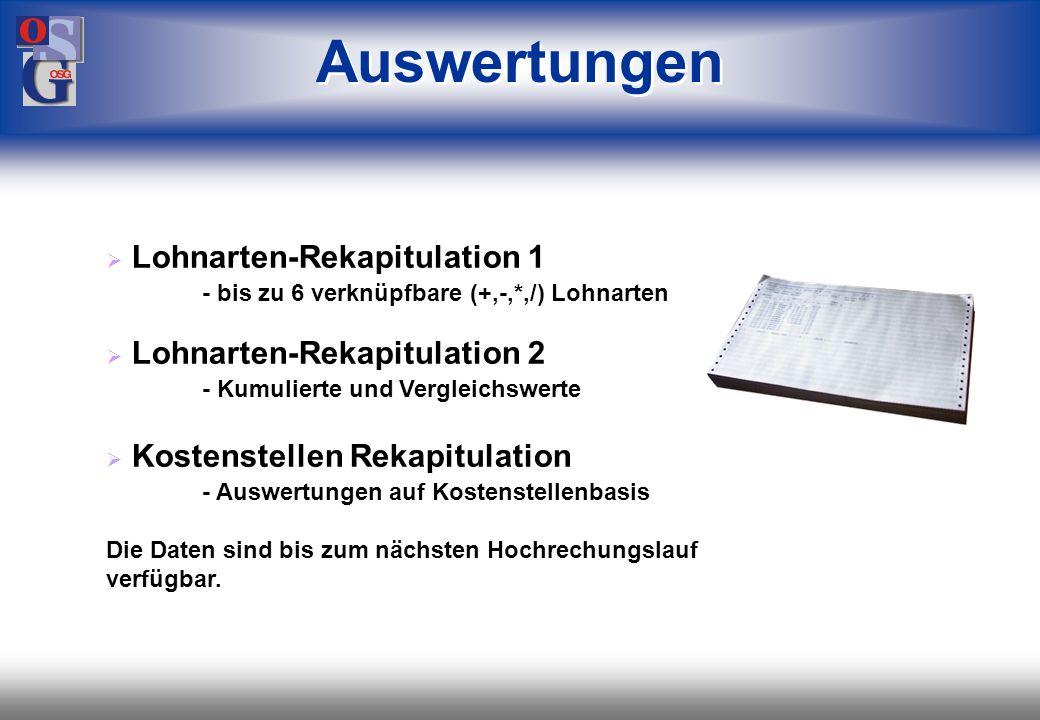 Auswertungen Lohnarten-Rekapitulation 1