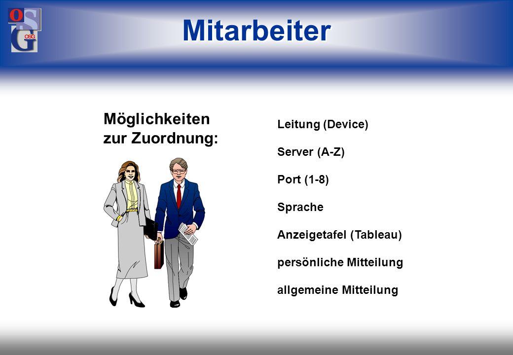 Mitarbeiter Möglichkeiten zur Zuordnung: Leitung (Device) Server (A-Z)