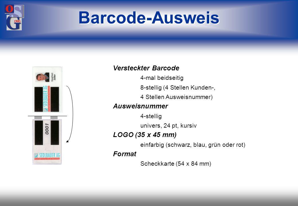 Barcode-Ausweis Versteckter Barcode Ausweisnummer LOGO (35 x 45 mm)