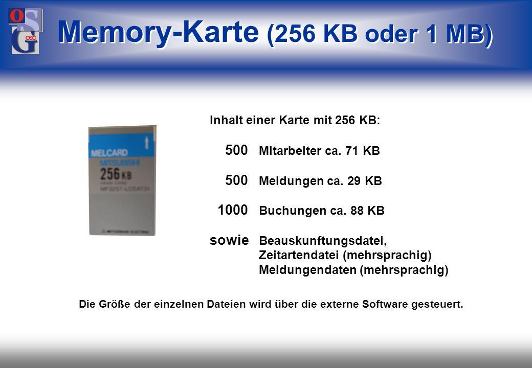 Memory-Karte (256 KB oder 1 MB)