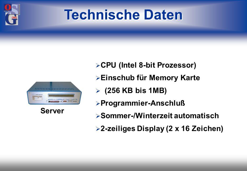 Technische Daten CPU (Intel 8-bit Prozessor) Einschub für Memory Karte