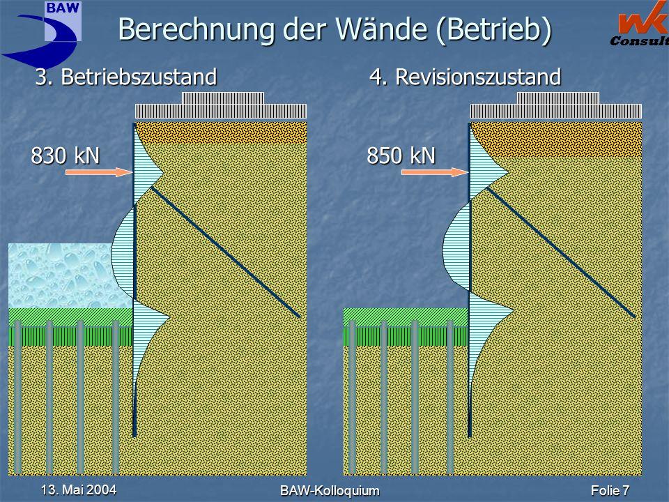Berechnung der Wände (Betrieb)