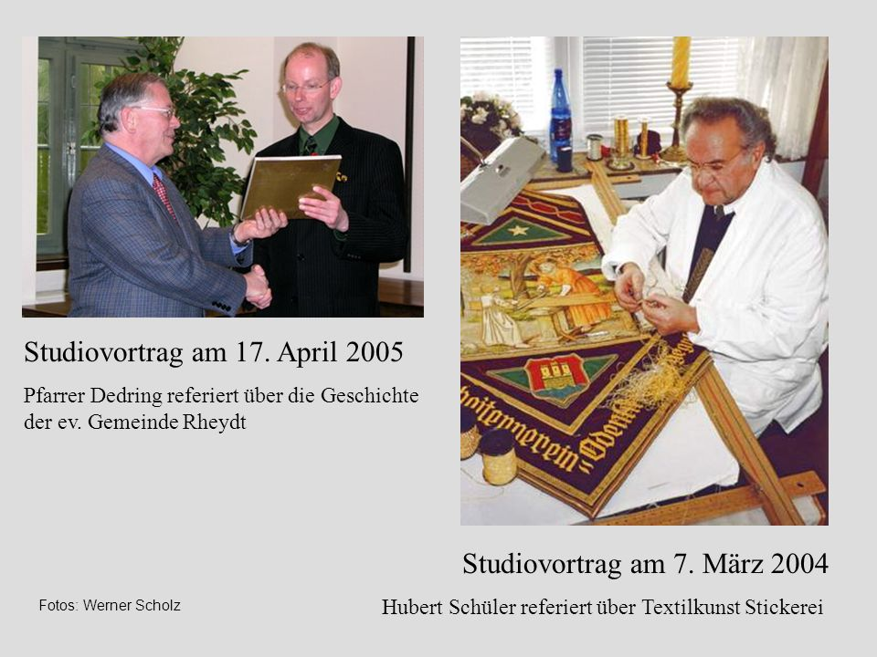 Studiovortrag am 17. April 2005