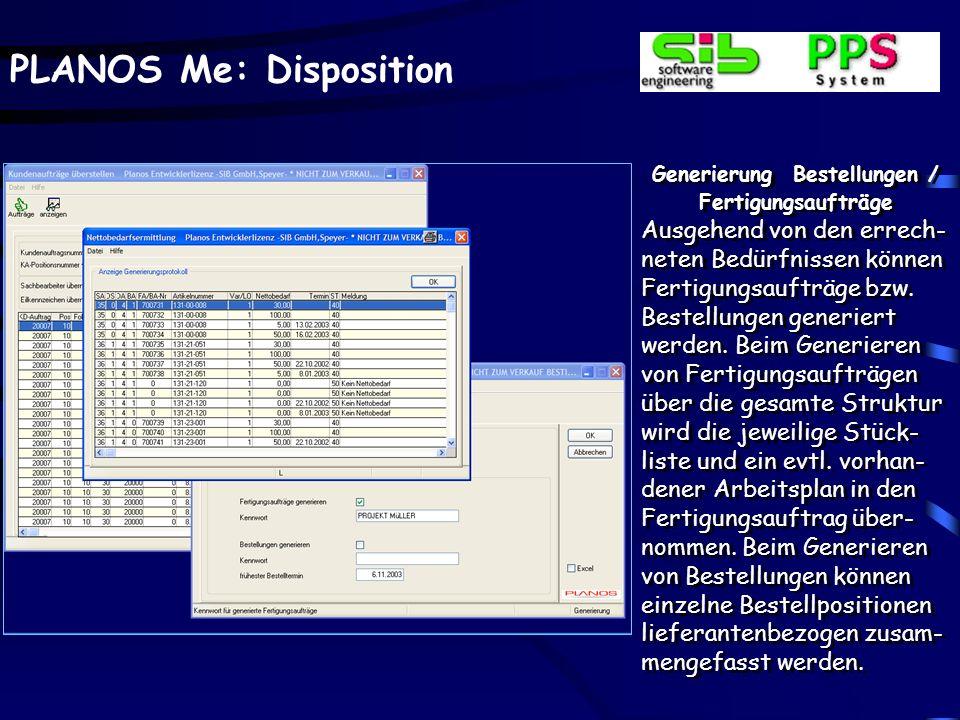 Generierung Bestellungen / Fertigungsaufträge aus Planbedürfnissen