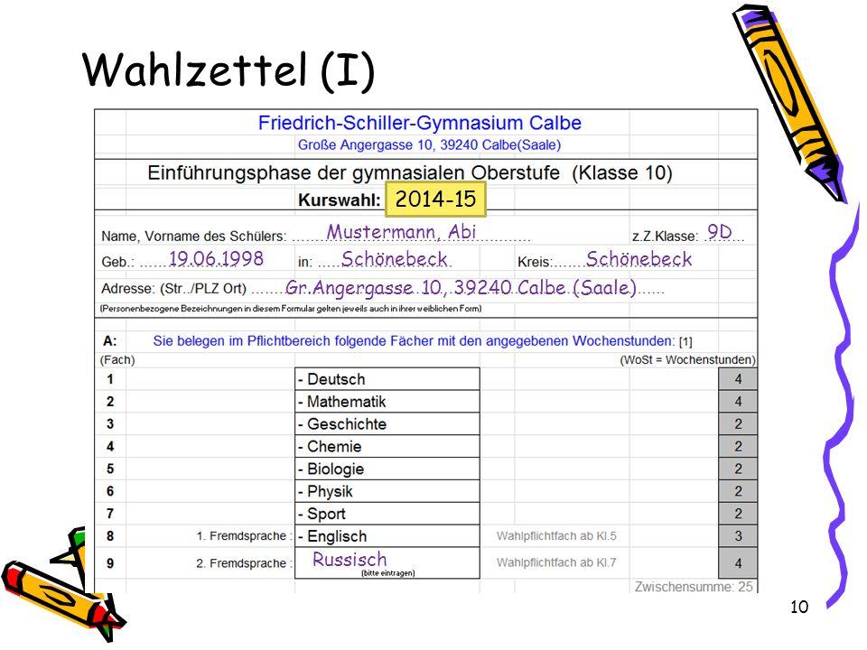 Wahlzettel (I) 2014-15 Mustermann, Abi 9D