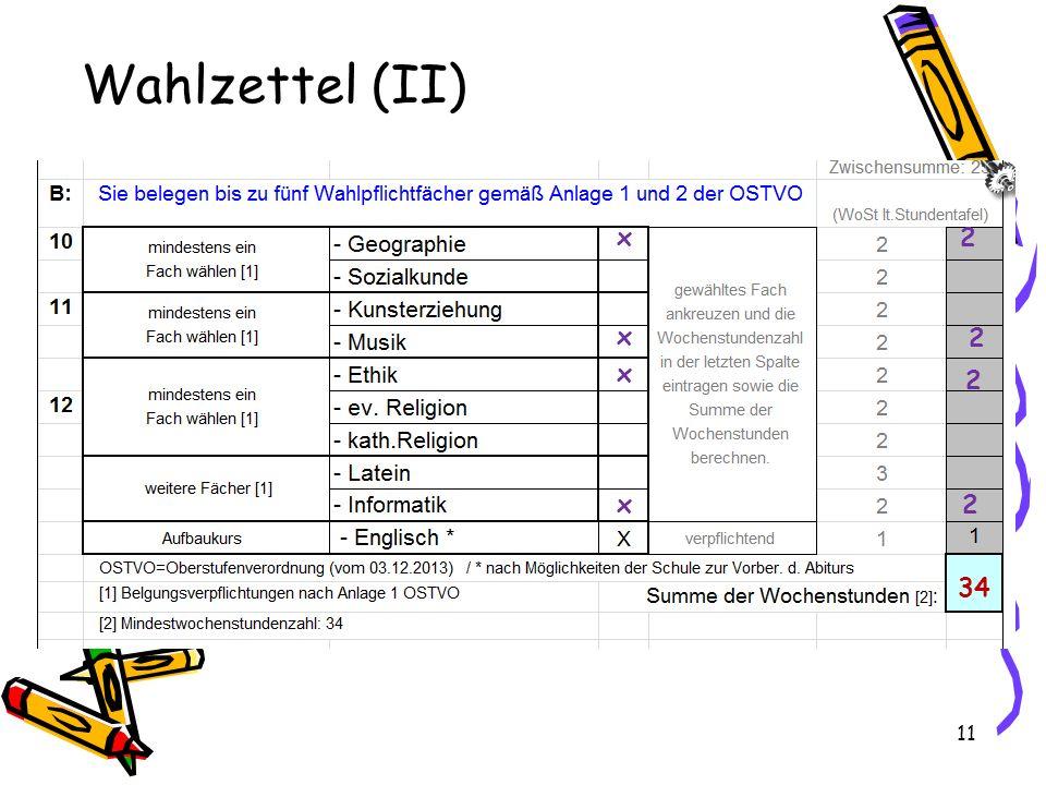 Wahlzettel (II) x 2 x 2 x 2 x 2 34
