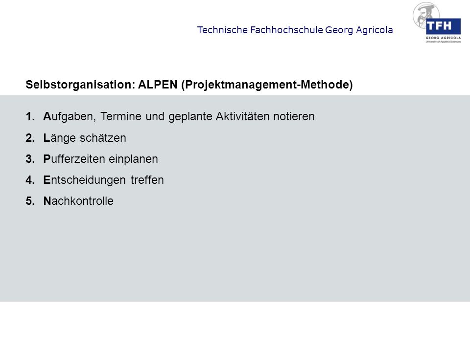 Selbstorganisation: ALPEN (Projektmanagement-Methode)