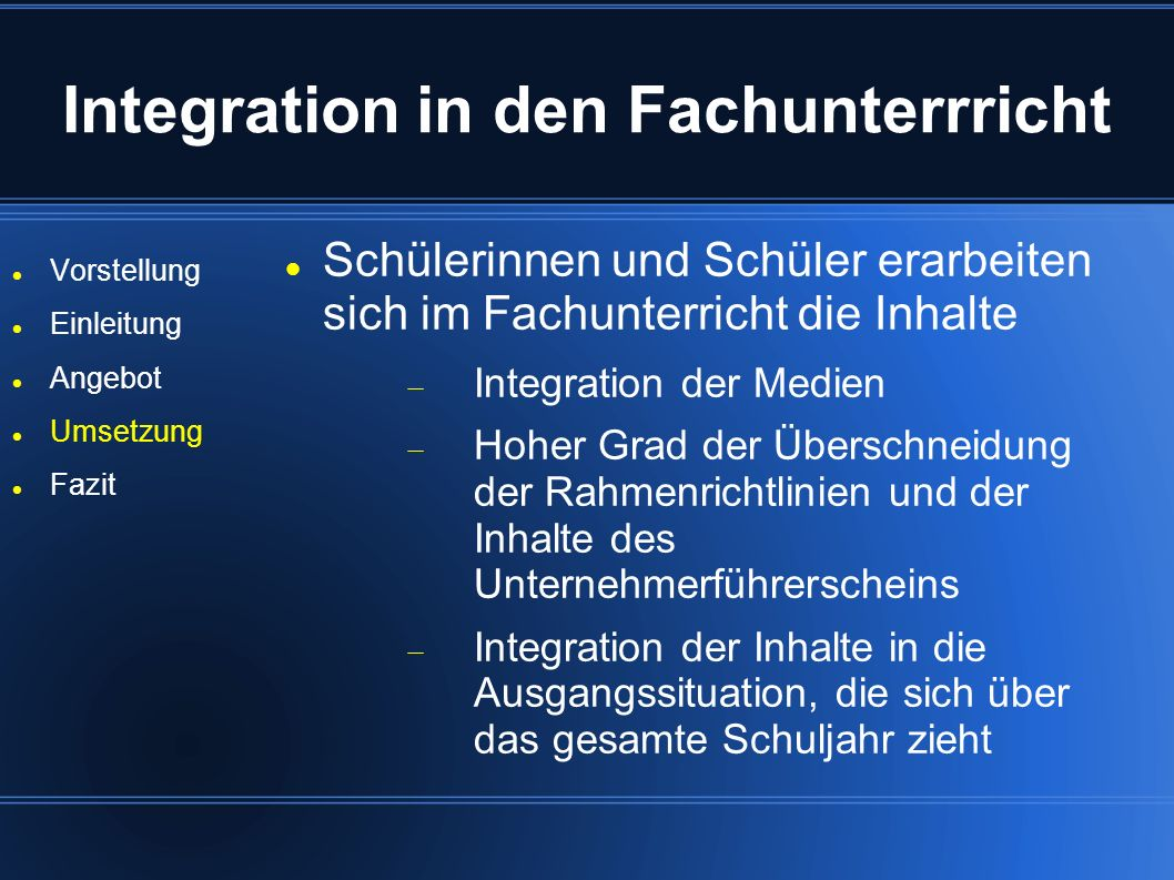 Integration in den Fachunterrricht