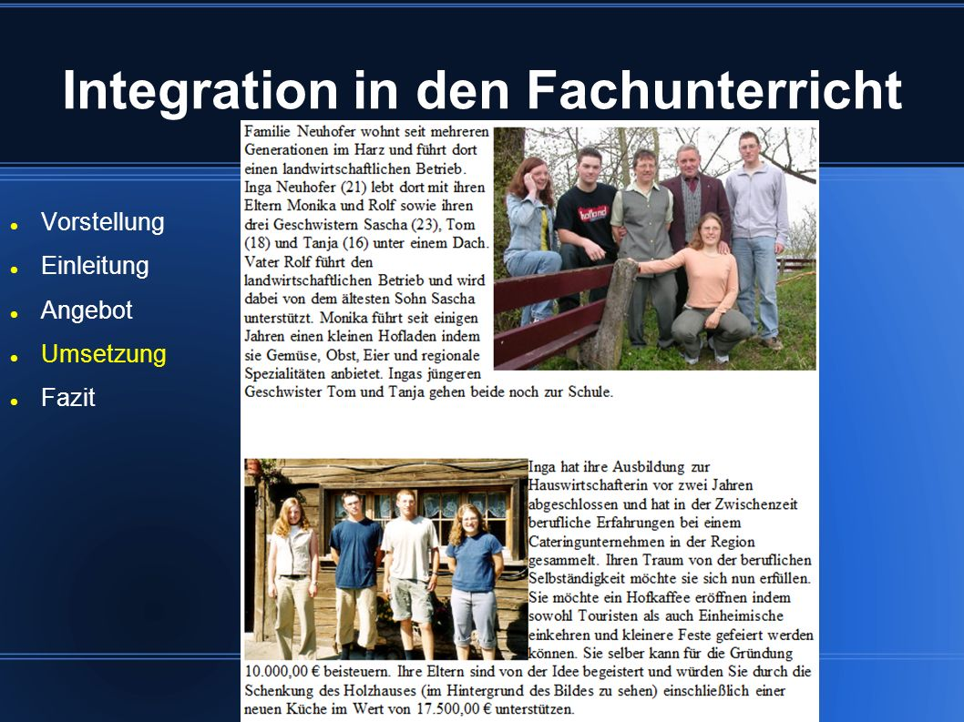 Integration in den Fachunterricht