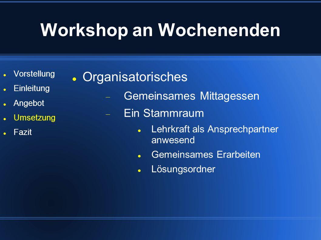 Workshop an Wochenenden