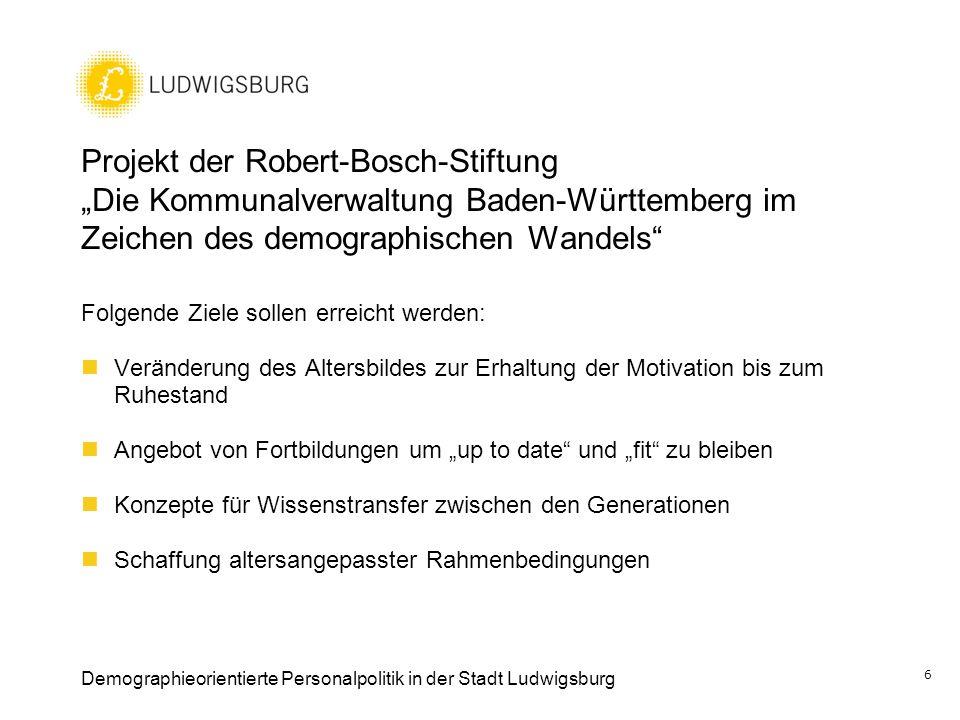 """Projekt der Robert-Bosch-Stiftung """"Die Kommunalverwaltung Baden-Württemberg im Zeichen des demographischen Wandels"""