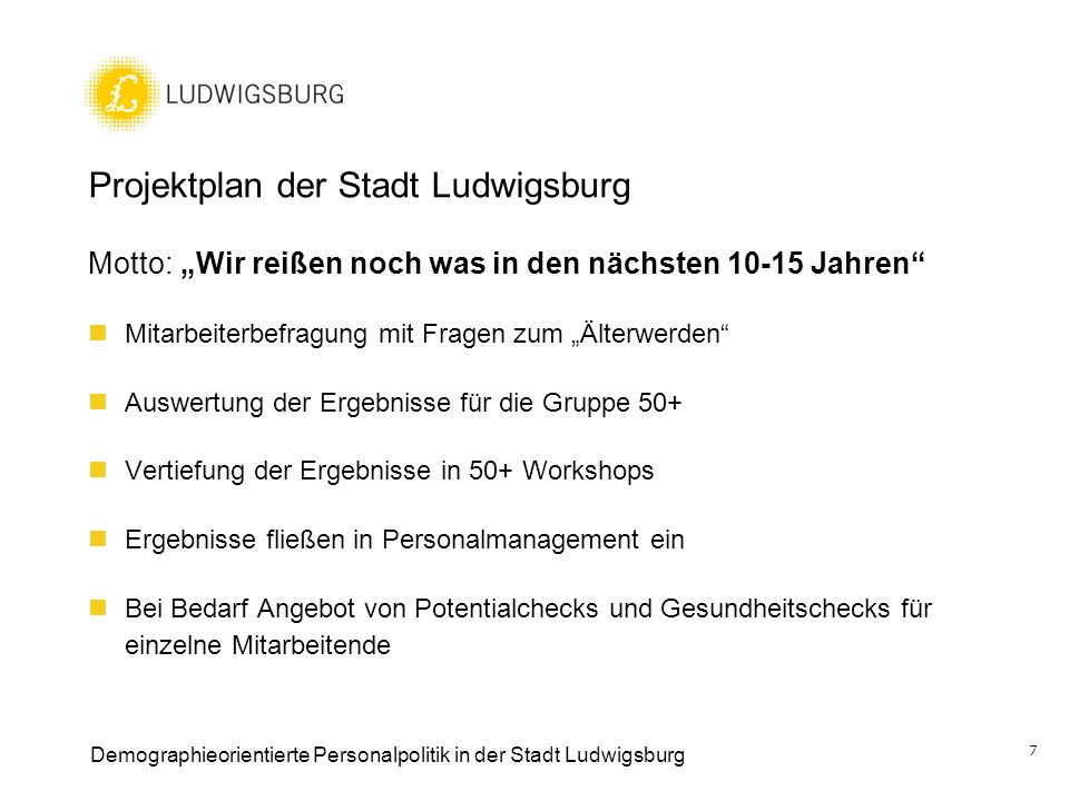 Projektplan der Stadt Ludwigsburg
