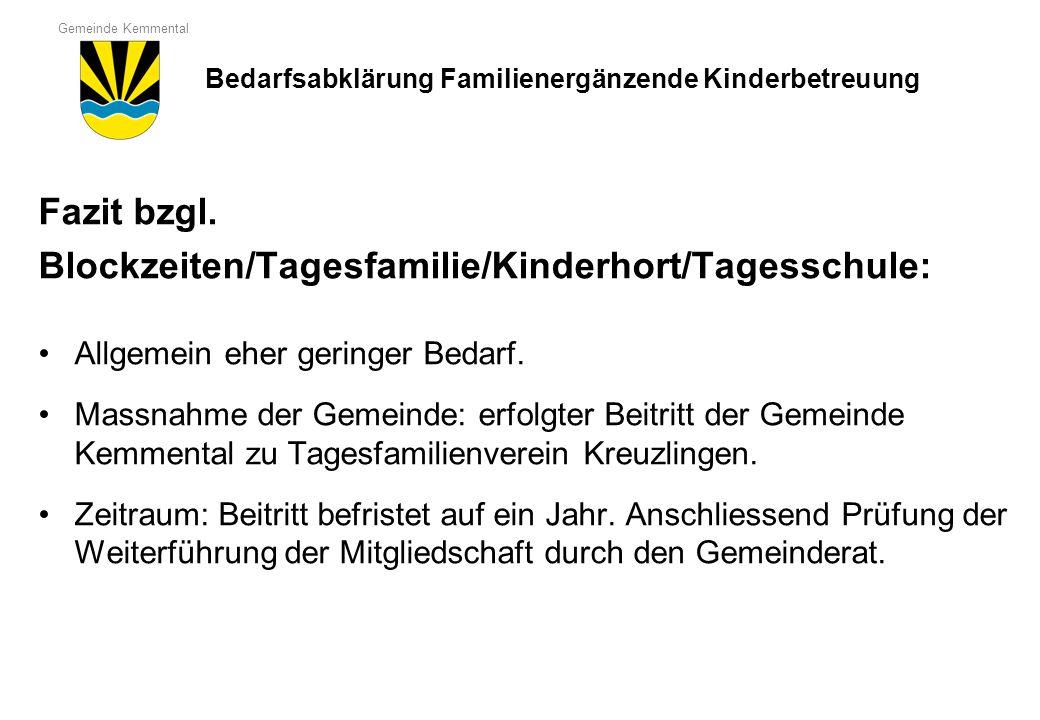 Blockzeiten/Tagesfamilie/Kinderhort/Tagesschule: